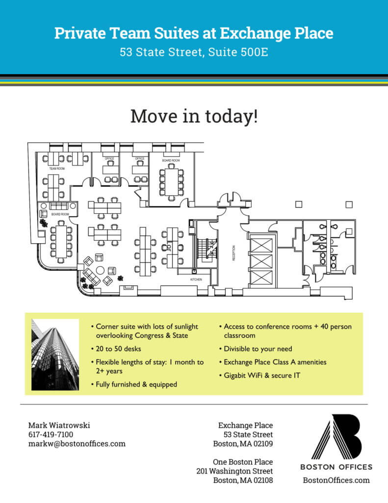 Layout of flexible Office Space at 53 State Street Boston, MA