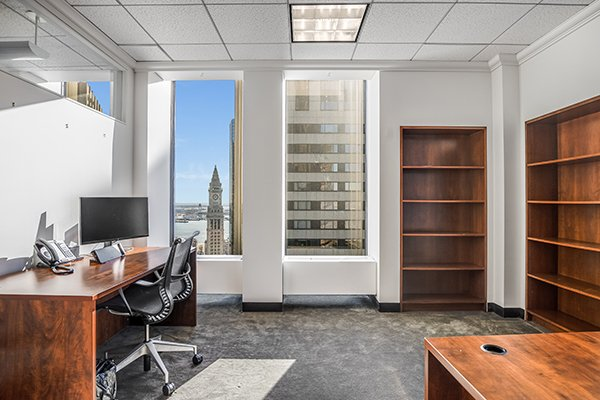 Private Corner Office at One Boston Place Meeting Room with a view of the Custom House Tower
